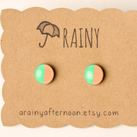 Half & Half Post Earrings in Peach and Neon Green