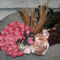 Dusty Rose and Brown Lace Fascinator