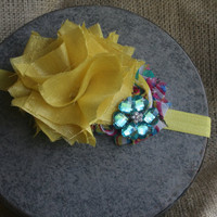 Yellow and Teal Rosette Headband