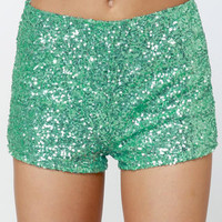 Hot Sequin Shorts - Mint Green Shorts - Hot Pants