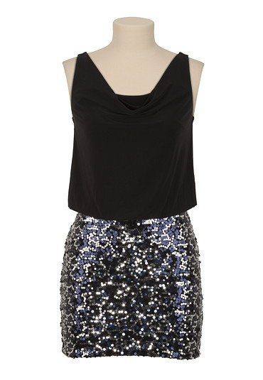 Drape Neck Sequin Skirt Dress