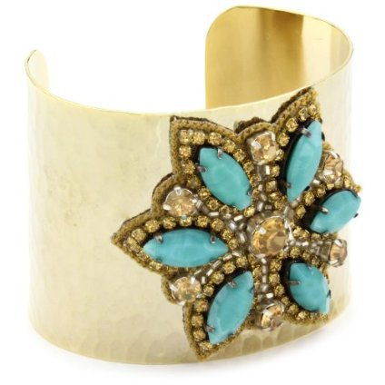 a.v. max Turquoise-Color Beads Gold-Plated Marquis Flower Cuff - designer shoes, handbags, jewelry, watches, and fashion accessories | endless.com