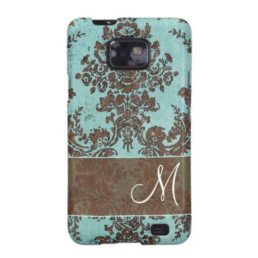 Vintage Damask Pattern with Monogram Samsung Galaxy S Case from Zazzle.com
