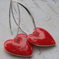 Red Heart Earrings, Cherry Red Heart Earrings, Enamel Heart Earrings, Sterling Silver Enamel Heart Earrings