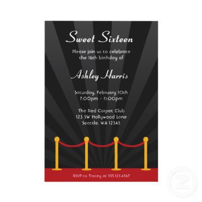Hollywood Red Carpet Sweet 16 Birthday Party Invites from Zazzle.com
