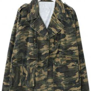 Camouflage Army Print Long Sleeve Jacket with Pocket Front