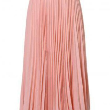 Pink Pleated High Waist Maxi Skirt