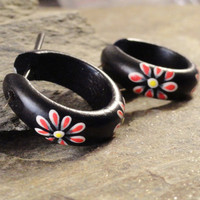 Black Hoop Earrings Sono Wood Stirrup Hanger Earring Hand Painted Flowers