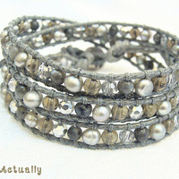 Black Grey Stone Wrapped Bracelet with Smokey quartz, Freshwater Pearl, Silver Crystal, Silver Plated Button, Polyester cord