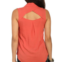 Open Back Collard Shirt | Shop New Tops Under $20 at Wet Seal