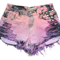 Studded ombre high waisted shorts S