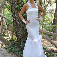 White Satin Tulle Mermaid Style Wedding Dress / Maxi Handmade Gown by SuzannaM Designs - New Collection