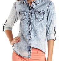 Acid Wash Chambray Button-Up Top by Charlotte Russe - Lt Acid Wash