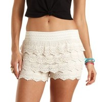 Scalloped Crochet High-Waisted Shorts by Charlotte Russe - Ivory