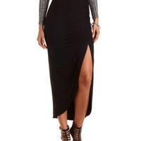 Ruched Front Slit Maxi Skirt by Charlotte Russe - Black