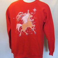 Vintage Magical 80s UNICORN FANTASY GRAPHIC Soft Women Men Epic Amazing Jumper Crewneck Sweatshirt