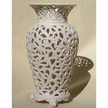 Victoria Albert Cutwork Ivory Porcelain Decorative Vase with Water Well - 8.5 Inch
