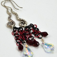 Hills Tribe Silver Earrings with Red and Clear Swarovski Crystals