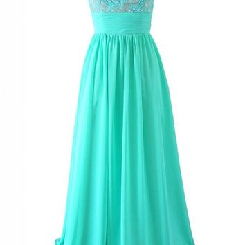 Kamilione Women's Chiffon and Lace Long Bridesamdid Prom Dress