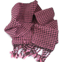 Handwoven Houndstooth Scarf - Pink and Brown