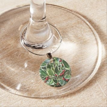 Holly Berry Christmas Holiday Wine Charm