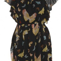 Butterfly Print Elasticated Frill Dress