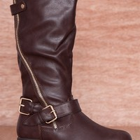 Refresh Moto Mama Two Zipper Faux Leather Riding Boots Dason-01 - Brown