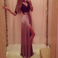 Womens Half Sleeve Deep V Slim Bandage Lace Slit Long Maxi Evening Dress