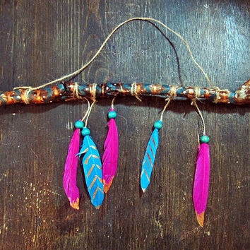 Aztec Driftwood Mobile with Feathers  - Bohemian Wall Hanging  -  Boho Tribal Decor - Hippie Home Decor - Nursery Wooden Mobile