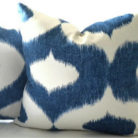 Decorative pillow cover Ikat blue and white print 16 x 16