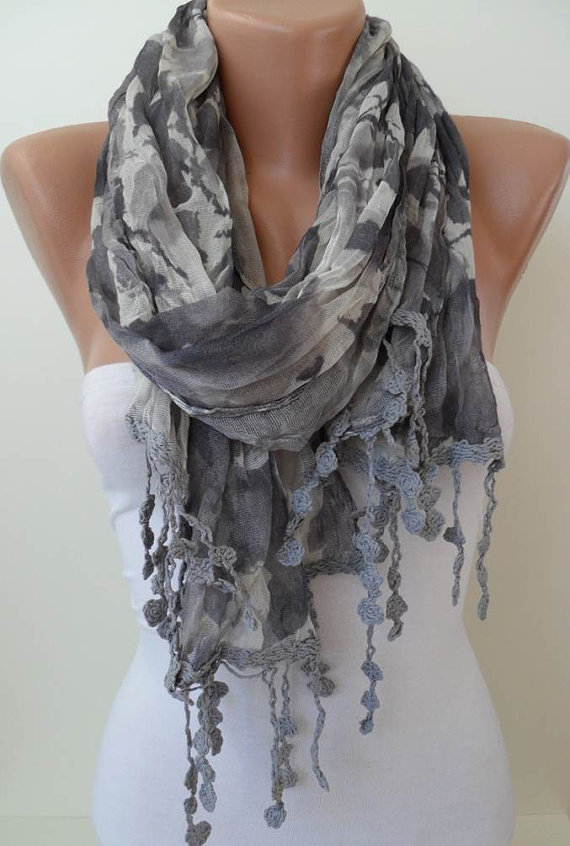 Autumn - Grey Linen Scarf  with Trim Edge