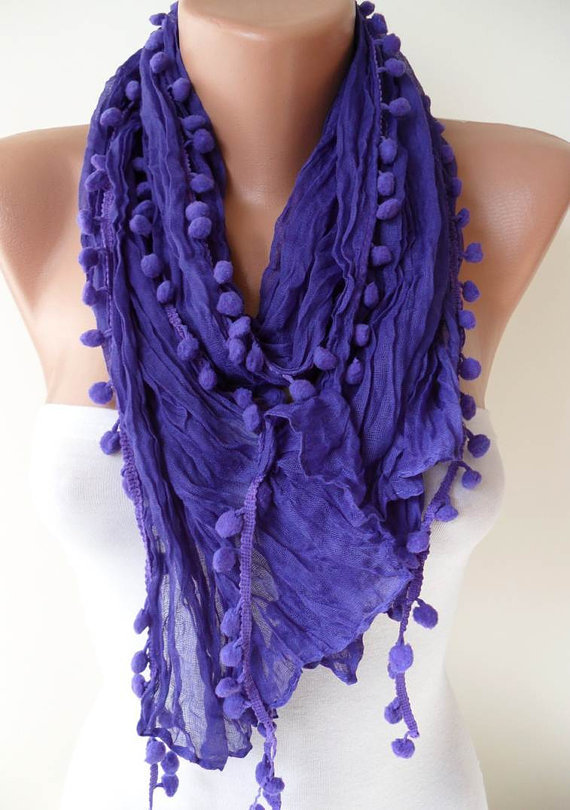 SALE SALE - Purple Cotton Scarf with Pompom Trim