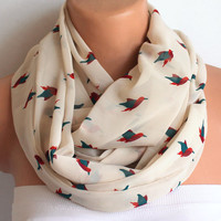 Infinity Scarf Loop Scarf Circle Scarf Bird Scarf Cowl Scarf Soft and Lightweight