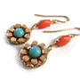 Earring, Floral, Coral Turquoise, Flower, Bead Mosaic, Hand Set, Copper