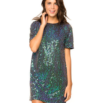 Motel Sally Mae Shift Dress in Green Irridescent