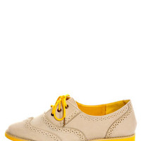 Lisa 1 Beige and Yellow Velvet Brogue Lace-Up Oxford Flats - $25.00