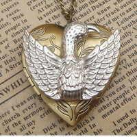 Steampunk Eagle Locket Necklace Vintage Style Original Design