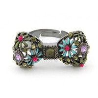 Black Sweet Temperament Colorful Petals Bowknot Rings@SP44194 $4.99 only in eFexcity.com.