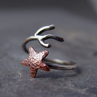 Copper Starfish Coral Branch Adjustable Ring, Beach Jewelry, Starfish Ring, Ocean Jewelry, Gifts for her, Gifts under 40.00, Handmade