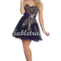 Peacock A-line Straps Short Organza Homecoming Dress-$138.99-ReliableTrustStore.com