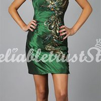 Peacock A-line Strapless Sleeveless Satin Short Homecoming Dress-$147.97-ReliableTrustStore.com