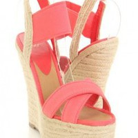 Salmon Elastic Cross Strap Open Toe Espadrille Wedges