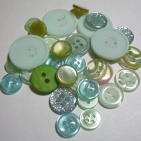 Vintage Buttons aqua teal sea green mist clear glitter lot of 31 scrapbook craft sewing destash supply