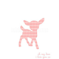 Oh My Deer I Love You So - Modern Deer Print Pink Diamond Nursery - 8x10 Gifts Under 25
