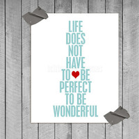 Wonderful Life original digital print in textured aqua &amp; red - 8x10 Gifts Under 25