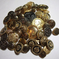 Vintage Buttons gold silver black plastic lot of 47 destash sewing supply