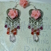 Cabachons & Crystals Dangle Earrings And Matching Flower Cabachon Adjustable Ring