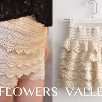 SALE - Soft & Romantic Cream Color Cake Lace Shorts / Skirt