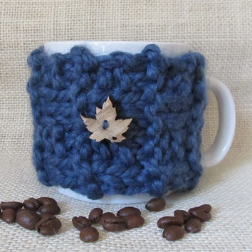 Coffee Mug Cozy, Denim Wool Blend, Handmade