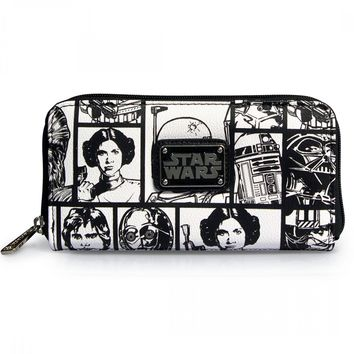 """""""Star Wars Comic Print"""" Wallet by Loungefly (Black/White)"""